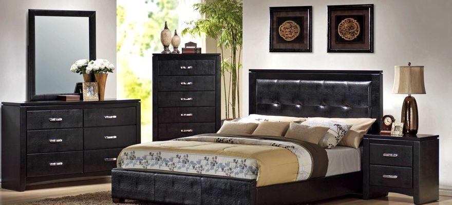 mobilier negru pentru un dormitor elegant si modern. Black Bedroom Furniture Sets. Home Design Ideas